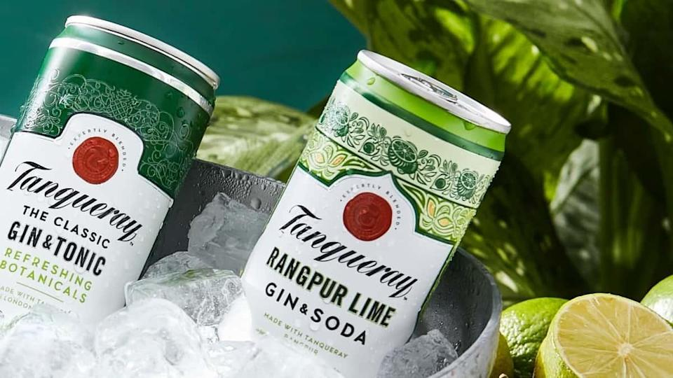 Cans of Tanqueray sit in an ice bucket