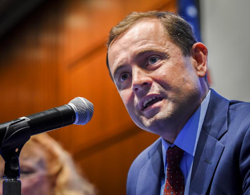 Tom Perriello addresses a forum with fellow Virginia gubernatorial candidate Ralph Northam on May 2, 2017. (Bill O'Leary/The Washington Post via Getty Images)