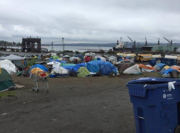 A homeless camp in Nanaimo in 2018. The city's mayor has advocated for more  treatment for homeless people with mental illnesses.