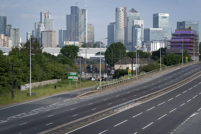 Empty traffic lanes on the A102 in Greenwich, South East London (Victoria Jones/PA)
