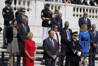 First lady Jill Biden, Doug Emhoff, and Chairman of the Joint Chiefs of Staff Gen. Mark Milley wait for President Joe Biden to place a wreath at the Tomb of the Unknown Soldier at Arlington National Cemetery on Memorial Day, Monday, May 31, 2021, in Arlington, Va.(AP Photo/Alex Brandon)