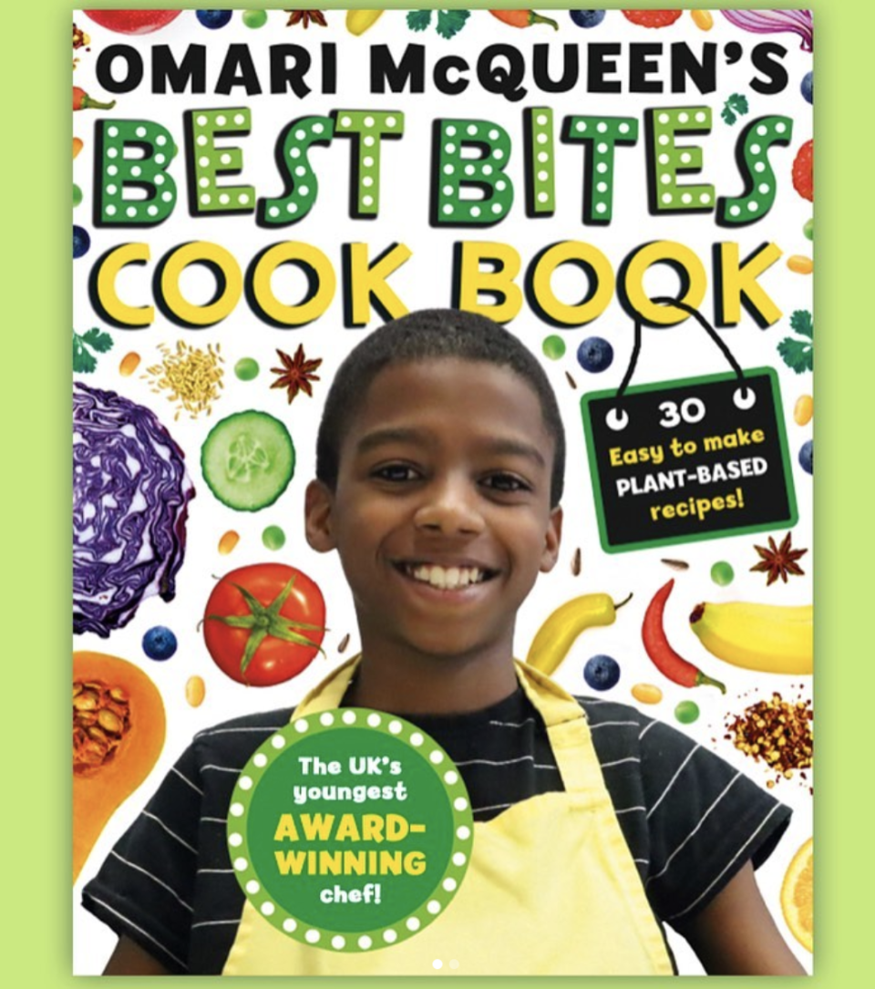 """<p>At just 12 years old, Omari McQueen runs a business that sells his vegan dips. He has hosted a pop-up shop and is now publishing his first cookbook with Scholastic UK. <em>Best Bites</em> will include 30 different (but easy!) plant-based recipes that are totally kid-friendly too. The book is set to be available by January 2021. In the meantime, you can keep up with Omari at <a href=""""https://www.dipalicious.co.uk/"""" rel=""""nofollow noopener"""" target=""""_blank"""" data-ylk=""""slk:his website"""" class=""""link rapid-noclick-resp"""">his website</a>. </p>"""