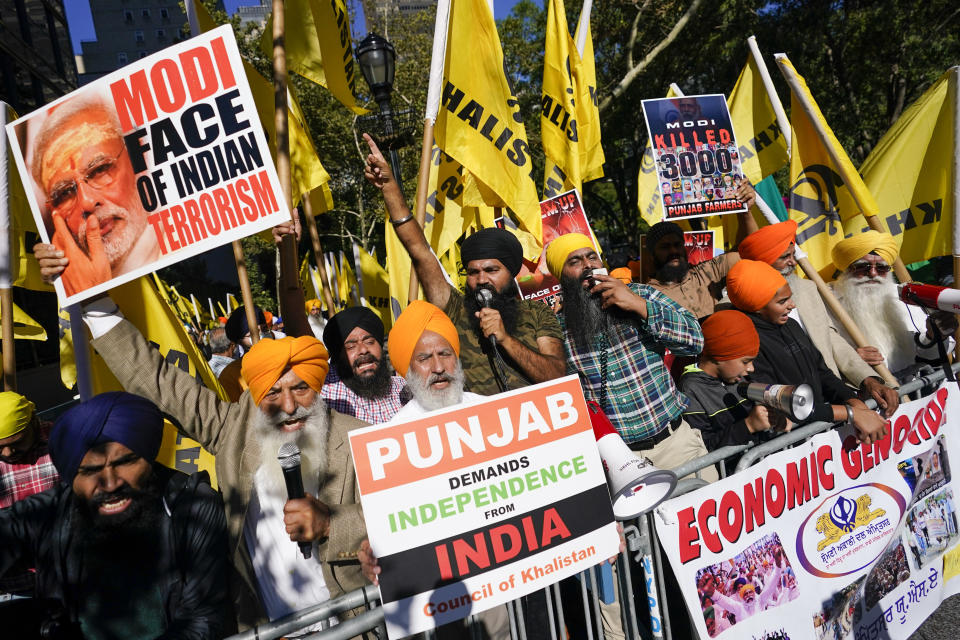 Demonstrators rally in favor of Indian farmers outside the United Nations headquarters during the 76th Session of the U.N. General Assembly, Saturday, Sept. 25, 2021, in New York. (AP Photo/Mary Altaffer)