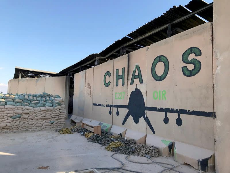 FILE PHOTO: Blast walls of a sleeping quarters for U.S. soldiers are seen at Ain al-Asad air base in Anbar province