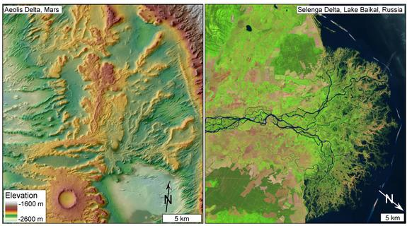Left: A shaded relief map shows channelized sedimentary deposits interpreted as an ancient river delta in Aeolis Dorsa, Mars. Right: A modern delta on Earth.