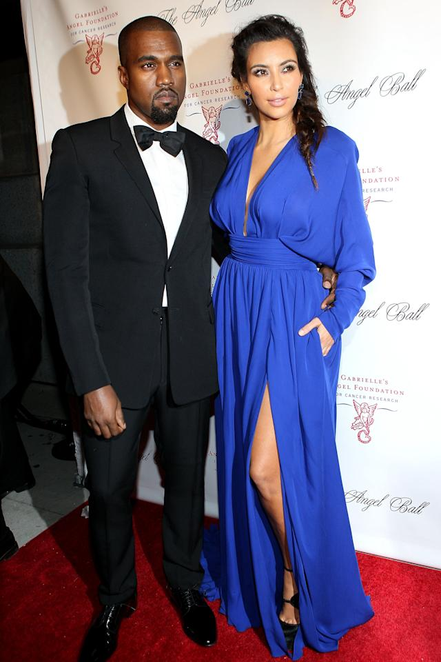 NEW YORK, NY - OCTOBER 22:  Kanye West and Kim Kardashian attend the Angel Ball 2012 at Cirpiani Wall Street on October 22, 2012 in New York City.  (Photo by Steve Mack/Getty Images)
