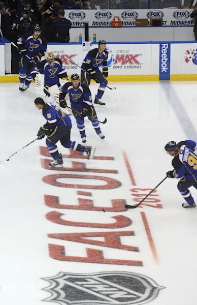 CORRECTS MONTH FROM NOVEMBER TO OCTOBER- St. Louis Blues warm up prior to the opening season NHL hockey game against the Nashville Predators, Thursday, Oct. 3, 2013, in St. Louis. (AP Photo/Bill Boyce)