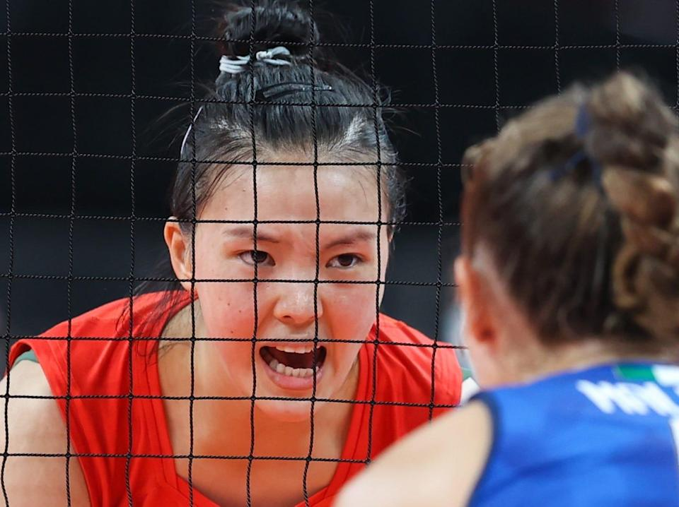 Zhang Changning of China reacts during volleyball at the Tokyo Olympics