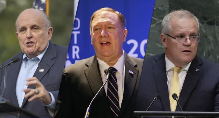 Rudy Giuliani, Secretary of State Mike Pompeo and Australian Prime Minister Scott Morrison. (Photos: Hoo-Me.com/MediaPunch/AP, Jason DeCrow/AP, Frank Franklin II/AP)