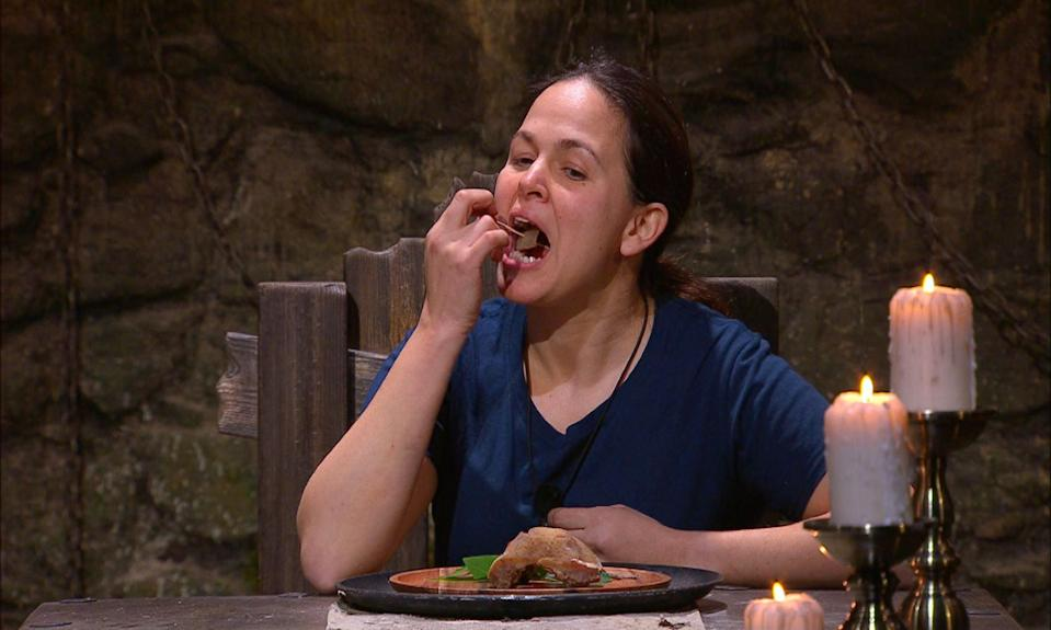 Giovanna Fletcher chewed on a sheep's testicle for her final trial. (ITV/Shutterstock)