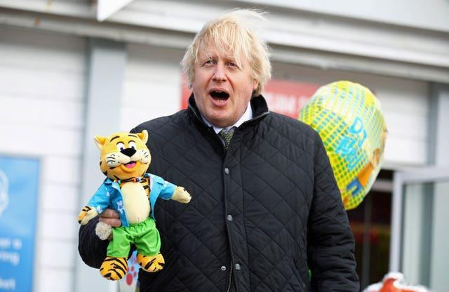Prime Minister Boris Johnson was given a toy tiger for his son Wilfred during his visit to Haven Perran Sands Holiday Park in Perranporth