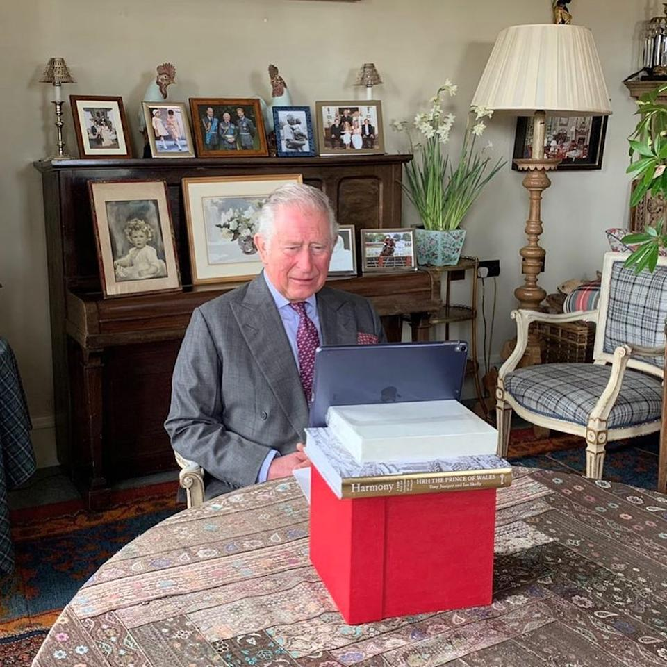 Prince Charles sitting at home on a zoom call