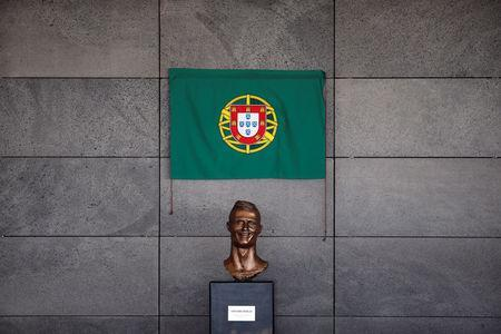 A bust of Real Madrid forward Cristiano Ronaldo is seen before the ceremony to rename Funchal airport as Cristiano Ronaldo Airport in Funchal, Portugal March 29, 2017. REUTERS/Rafael Marchante