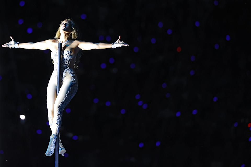 Jennifer Lopez performs during the Pepsi Super Bowl LIV Halftime Show at Hard Rock Stadium on February 02, 2020 in Miami, Florida. (Photo by Ronald Martinez/Getty Images)