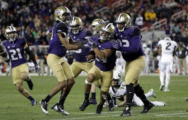 Washington defeated Colorado to claim the Pac-12 title. (AP Photo/Marcio Jose Sanchez)