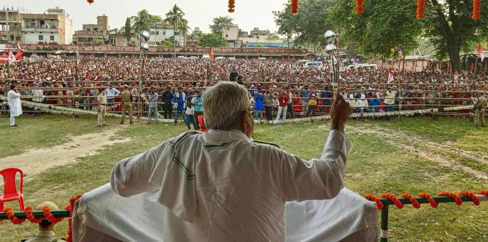 Bihar Chief Minister Nitish Kumar addresses an election campaign rally ahead of Bihar Assembly election on October 22, 2020 in Hasanpur, India. (Photo by Santosh Kumar/Hindustan Times via Getty Images)