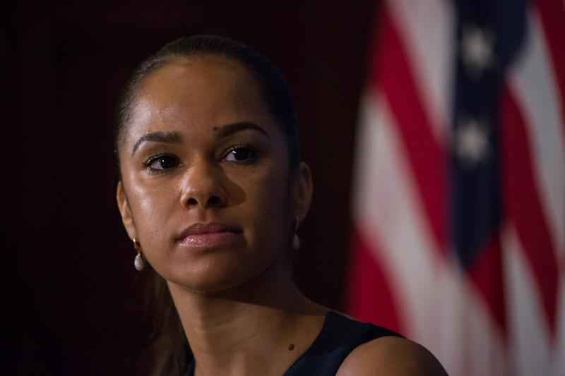 Misty Copeland, the first African-American Female Principal Dancer with the American Ballet Theatre, spoke to Jeff Ballou, President of The National Press Club, during a press event in the Holeman Lounge of The National Press Club, on Monday, April 17, 2017. (Photo by Cheriss May/NurPhoto via Getty Images)
