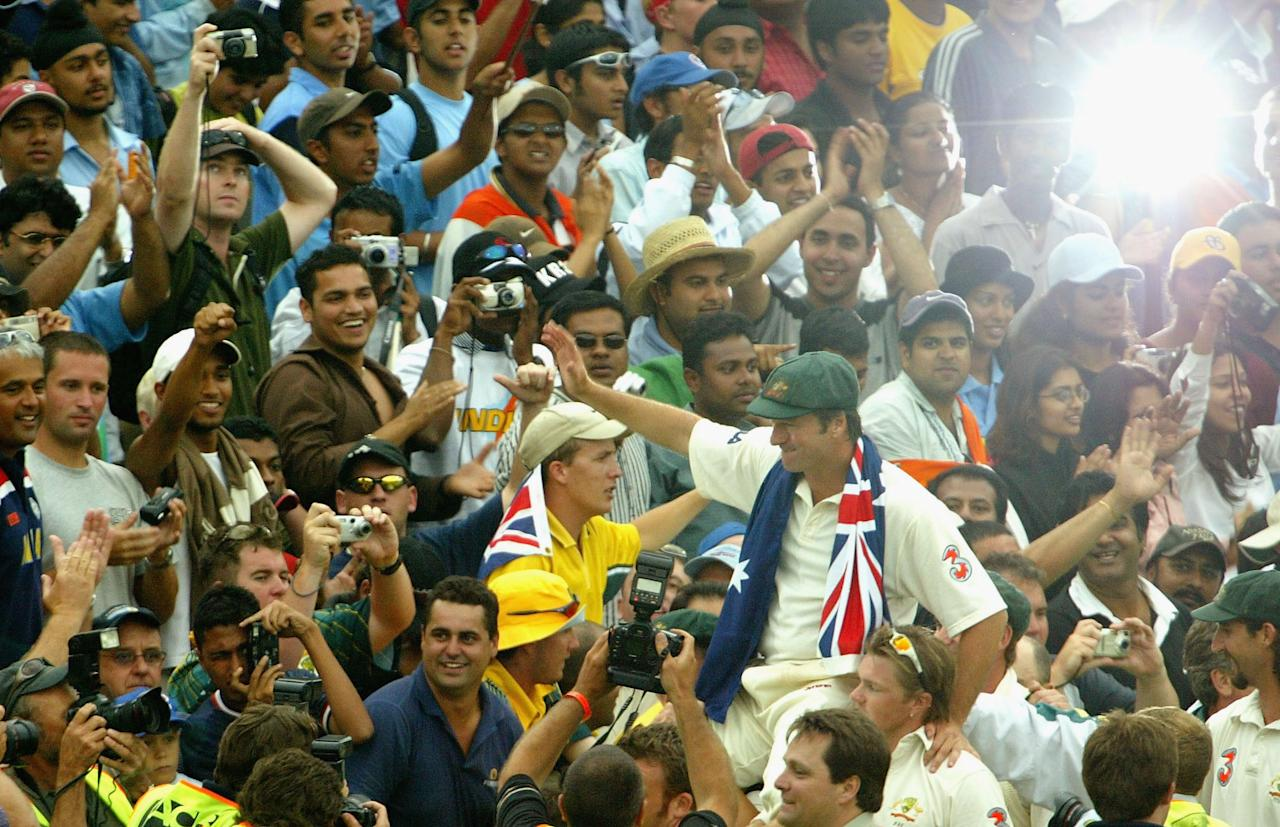 SYDNEY, AUSTRALIA - JANUARY 6:  Steve Waugh of Australia is carried around the field after playing and captaining his last game for Australia during day five of the 4th Test between Australia and India at the SCG on January 6, 2004 in Sydney, Australia. (Photo by Nick Laham/Getty Images)