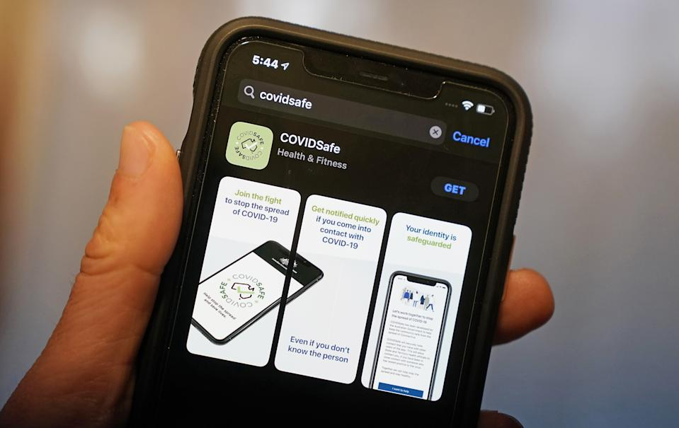 The Australian Government's new voluntary coronavirus tracing app 'COVIDSafe' is seen on a mobile phone. Source: AAP