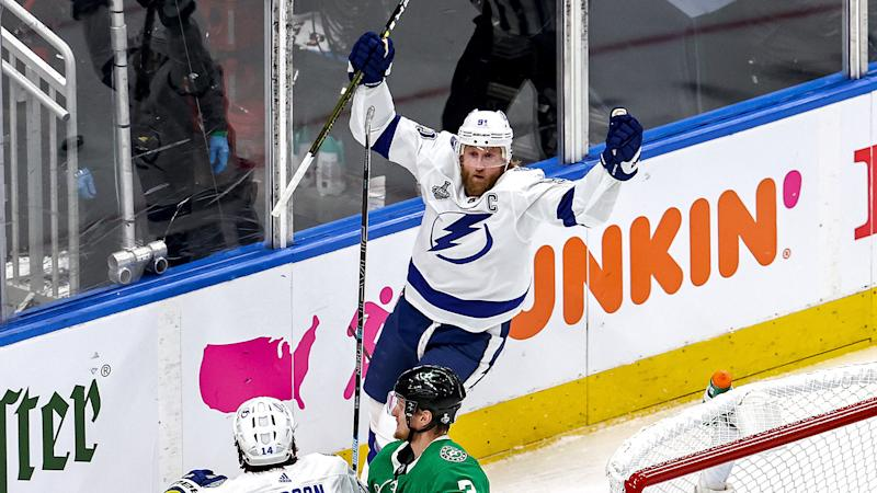 EDMONTON, ALBERTA - SEPTEMBER 23: Steven Stamkos #91 of the Tampa Bay Lightning celebrates after scoring a goal against the Dallas Stars during the first period in Game Three of the 2020 NHL Stanley Cup Final at Rogers Place on September 23, 2020 in Edmonton, Alberta, Canada. (Photo by Bruce Bennett/Getty Images)