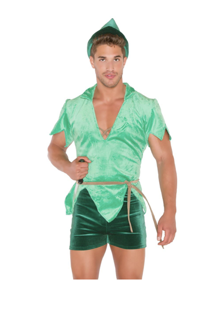 """<p>The boy who never grew up … apparently did! This form-fitting, <a rel=""""nofollow noopener"""" href=""""https://www.3wishes.com/mens/mens-costumes/fairyland-leader-costume/?gclid=CI-mycrHocgCFYgUHwodWwcN_A"""" target=""""_blank"""" data-ylk=""""slk:provocative take on Peter Pan"""" class=""""link rapid-noclick-resp"""">provocative take on Peter Pan</a> should be banished to the land of Never Never Wear.<br>(Photo: 3wishes.com) </p>"""