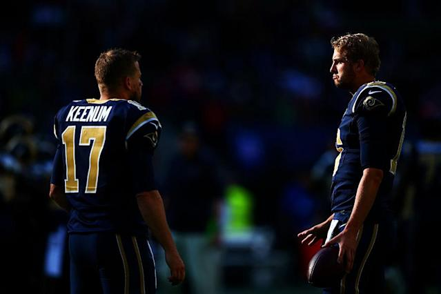 Case Keenum will give way to No. 1 pick Jared Goff as the Los Angeles Rams' starting QB. (Getty Images)