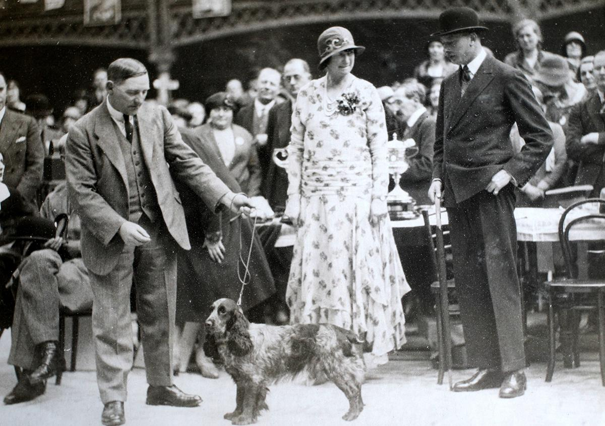 <p>H.S Lloyd and his daughter Jennifer Lloyd Carey stand with Luckystar of Ware, who won Best in Show at Crufts in 1930. He was presented the the trophy by the Duke of Gloucester. (Rex/Shutterstock) </p>
