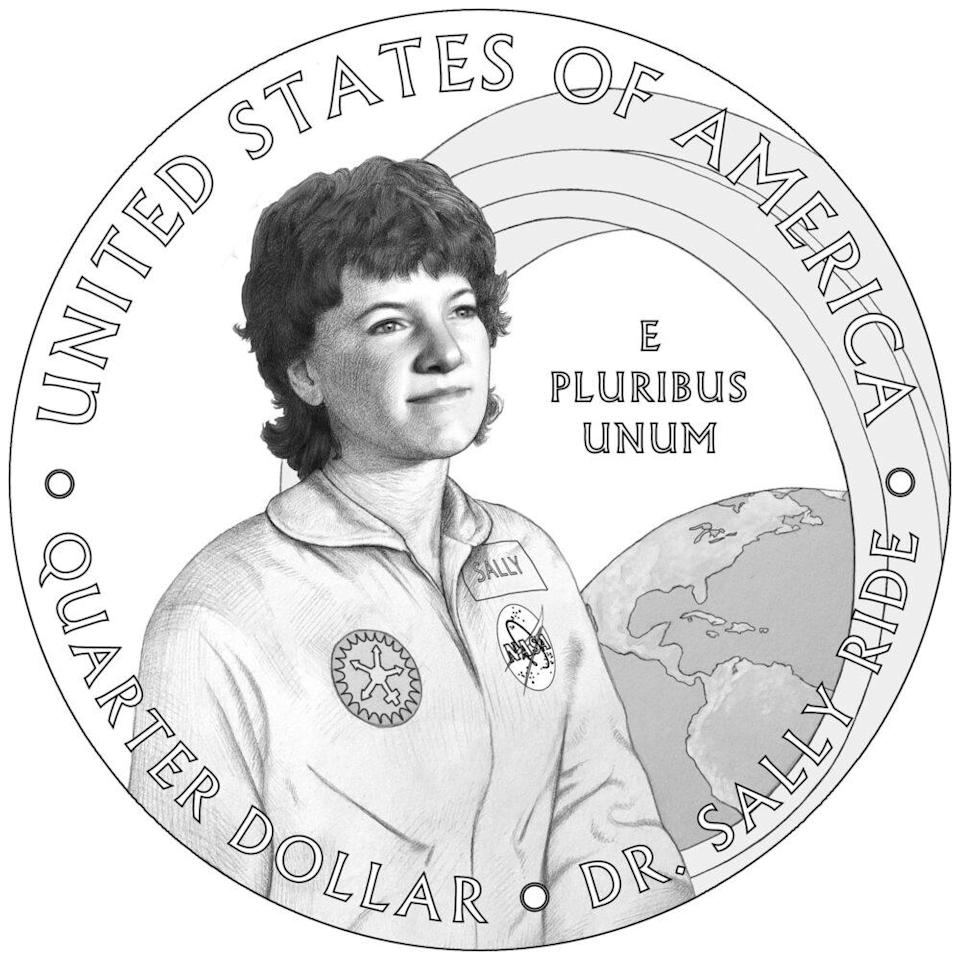 Sally Ride on her American Women Quarters Program coin
