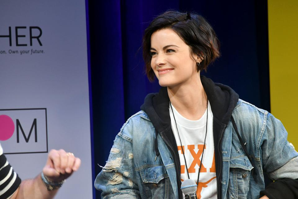 NEW YORK, NY - MAY 05:  Actress Jaimie Alexander speaks onstage during MTV's 2017 College Signing Day With Michelle Obama at The Public Theater on May 5, 2017 in New York City.  (Photo by Mike Coppola/Getty Images for MTV)