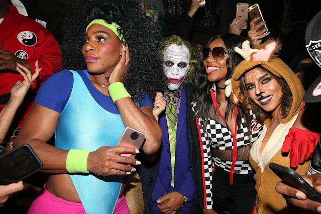 <p>Heidi Klum's big bash brought together this trio. The tennis star rocked lots of neon — and big hair — as a fitness guru, while the race car driver was spot-on as Heath Ledger's creepy Joker. As for the <i>Being Mary Jane</i> star, she dressed up as a race car driver – and seemed to be in good company if she needed any tips. (Photo: Getty Images) </p>