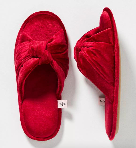 Ariana Bohling Velvet Bow Slippers. Image via Anthropologie.