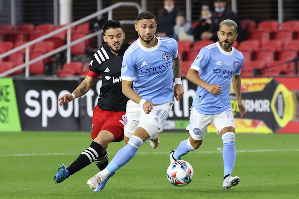 New York City FC's Valentin Castellanos (11) is well ahead of pace to eclipse his career-high in goals scored.