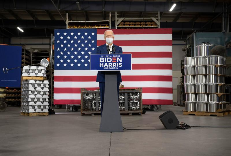 Democratic Presidential Candidate Joe Biden delivers remarks at an aluminum manufacturing facility in Manitowoc, Wisconsin, on September 21, 2020. (Photo by JIM WATSON / AFP) (Photo by JIM WATSON/AFP via Getty Images)