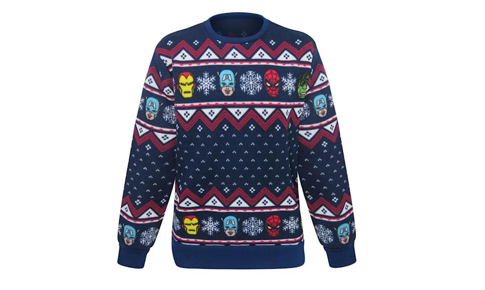 """<p>Hulk, Iron Man, Spider-Man, and Captain America… they're all there, in full knitted polyester glory. <a rel=""""nofollow noopener"""" href=""""https://www.superherostuff.com/avengers/sweaters/marvel-avengers-ugly-mens-christmas-sweater.html?itemcd=swtravngugly"""" target=""""_blank"""" data-ylk=""""slk:Buy here"""" class=""""link rapid-noclick-resp""""><strong>Buy here</strong></a> </p>"""