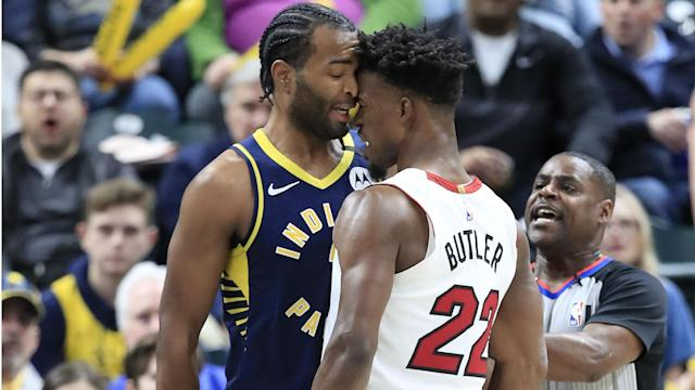 """Miami Heat star Jimmy Butler described Indianapolis Pacers forward T.J. Warren as """"trash"""" after the two clashed during Wednesday's game."""