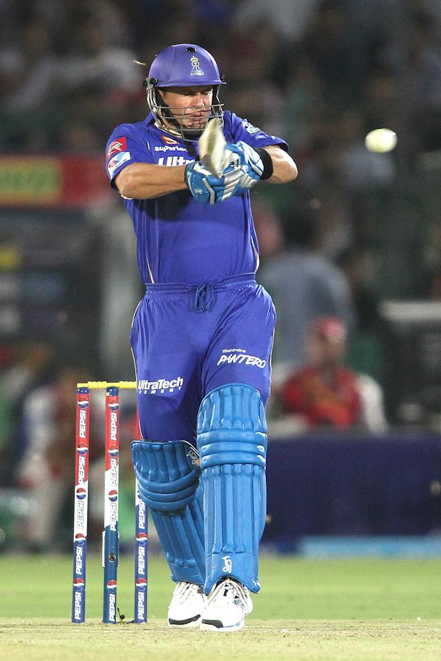 Brad Hodge of Rajasthan Royals pulls a delivery to the boundary during match 18 of the Pepsi Indian Premier League (IPL) 2013 between The Rajasthan Royals and the Kings Xi Punjab held at the Sawai Mansingh Stadium in Jaipur on the 14th April 2013..Photo by Shaun Roy-IPL-SPORTZPICS ..Use of this image is subject to the terms and conditions as outlined by the BCCI. These terms can be found by following this link:..https://ec.yimg.com/ec?url=http%3a%2f%2fwww.sportzpics.co.za%2fimage%2fI0000SoRagM2cIEc&t=1501329530&sig=oNbLCCeAe3ZnMnqXsSlxLQ--~C
