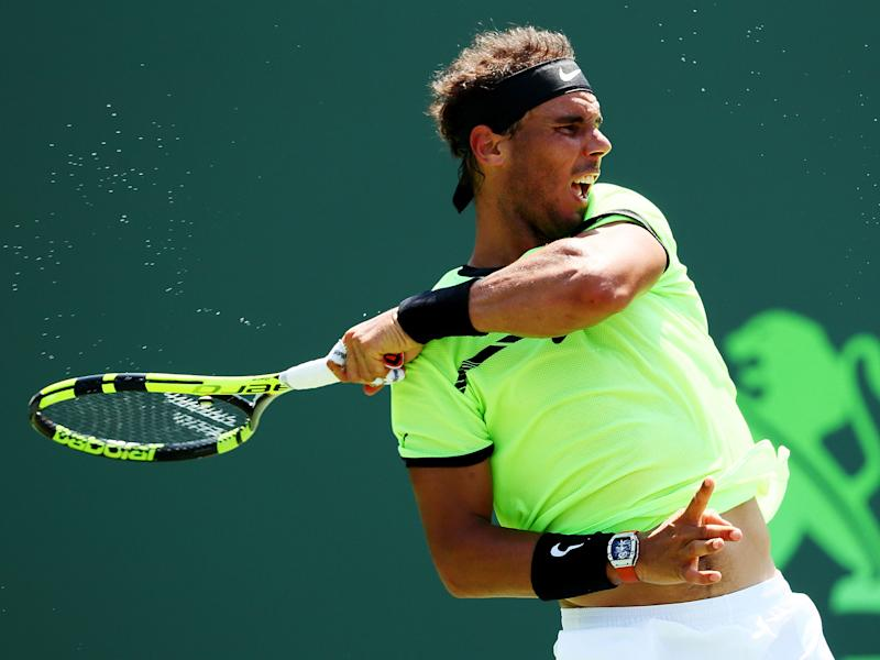 Nadal in action against the Italian: Getty