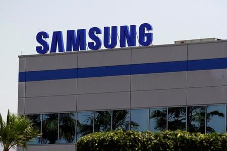FILE PHOTO: The logo of Samsung Electronics is pictured at the company's factory in Tijuana