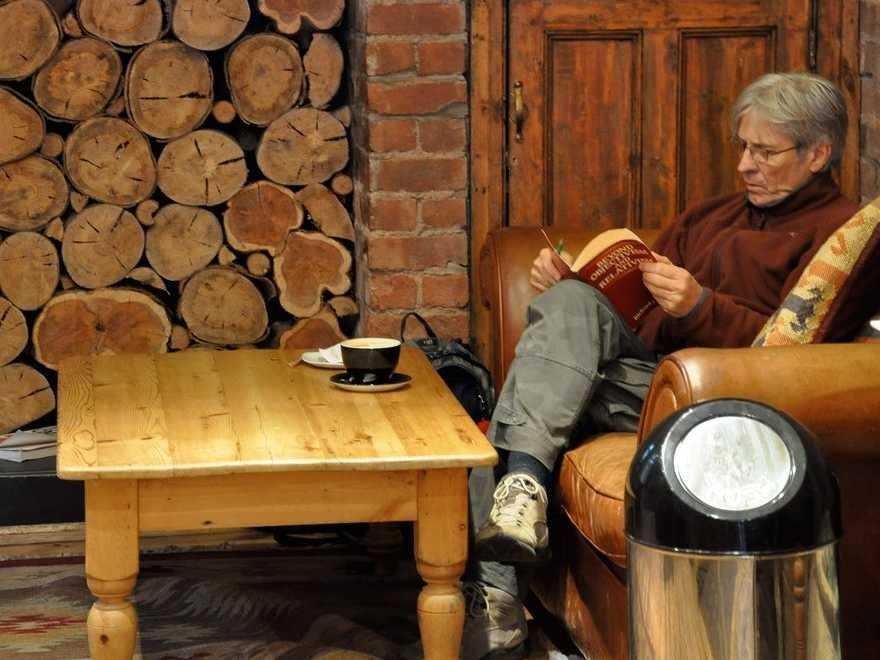 reading coffee shop winter
