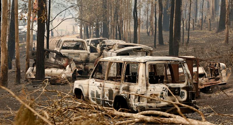 Cars gutted by bushfire that destroyed parts of Rainbow Flat in NSW over the weekend.