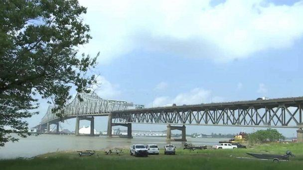 PHOTO: The area around the Mississippi River Bridge is being searched in an effort to find 19-year-old LSU student Kori Gauthier in Baton Rouge, La., April 9, 2021. (WBRZ)