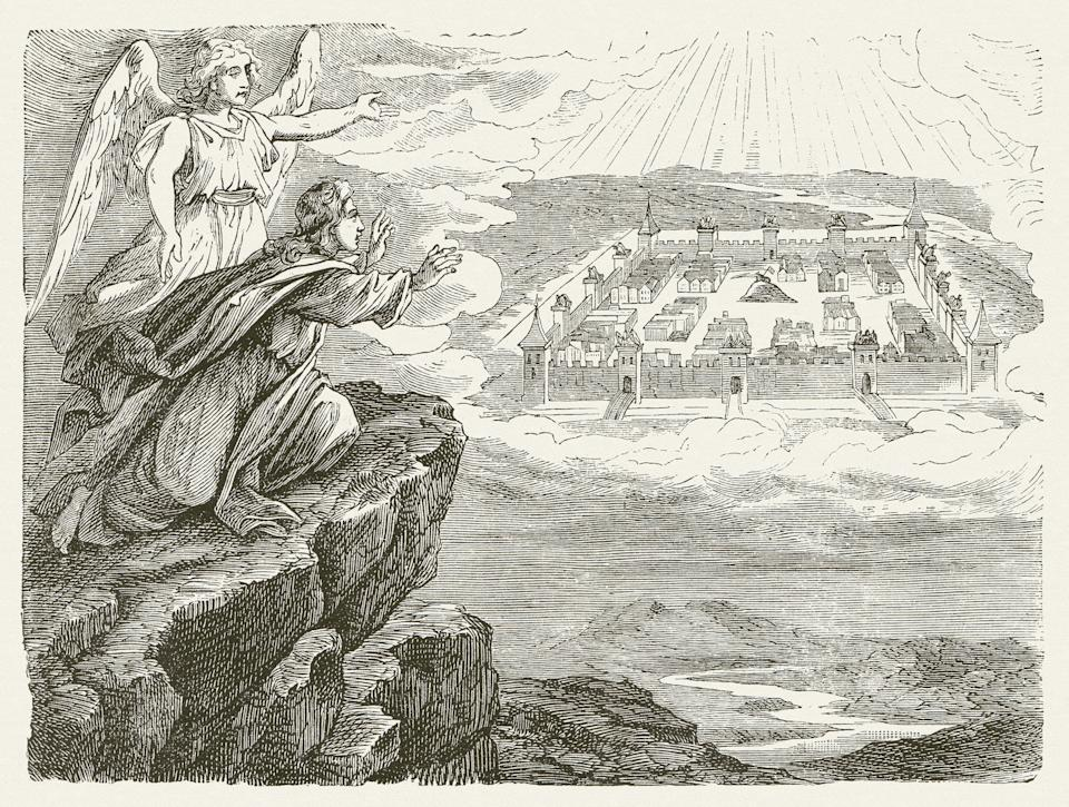 A woodcut of a drawing by the German painter Julius Schnorr von Carolsfeld illustrates a chapter from the Book of Revelation that describes a new Jerusalem. (Photo: ZU_09 via Getty Images)