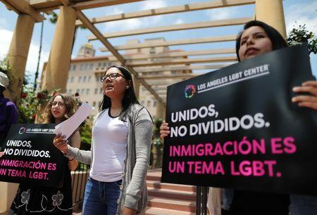 Protestors demonstrate against the termination of the Deferred Action for Childhood Arrivals (DACA) program outside the 9th Circuit Court of Appeals in Pasadena, California, U.S. May 15, 2018. REUTERS/Lucy Nicholson