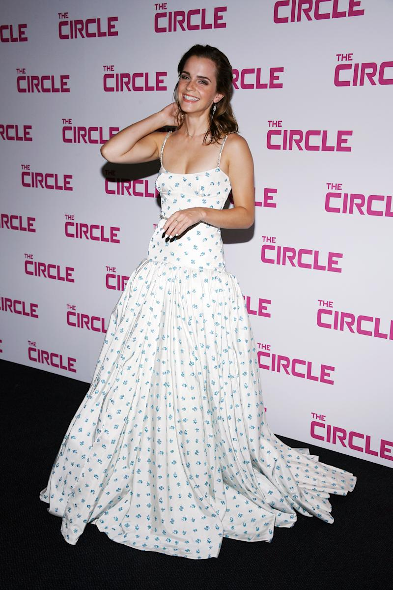 Emma Watson Looks Gorgeous in a Dramatic Floral Gown at The Circle ...