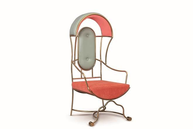 A metal reed chair by Bent Chair has a traditional form and classic contours