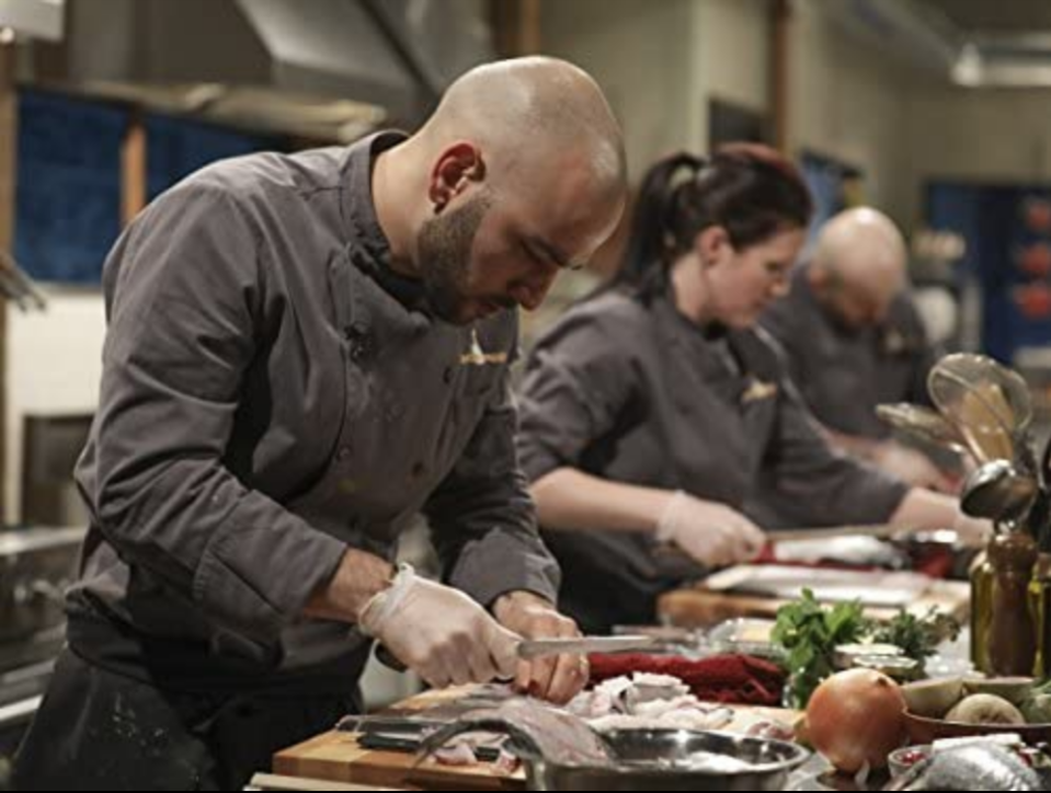 """<p>Sharp knives, time crunch, $10,000 on the line, what could go wrong? There have been no shortages of cooking scars on <em>Chopped</em>. If a contestant gets hurt, they have to bandage themselves up at the <a href=""""https://www.foodnetwork.com/shows/chopped/photos/the-biggest-injuries-in-chopped-history"""" rel=""""nofollow noopener"""" target=""""_blank"""" data-ylk=""""slk:first aid station"""" class=""""link rapid-noclick-resp"""">first aid station</a> and, unfortunately, don't receive that time back.</p>"""
