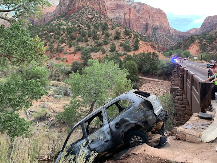 A suspect was pursued from St. George into Zion National Park on a high-speed chase across much of Washington County, Utah, early Tuesday morning after allegedly starting fires at multiple churches in St. George. He crashed at the Canyon Junction bridge inside the national park and was taken into custody. The crash caused a fire at the bridge, leaving a burned vehicle.