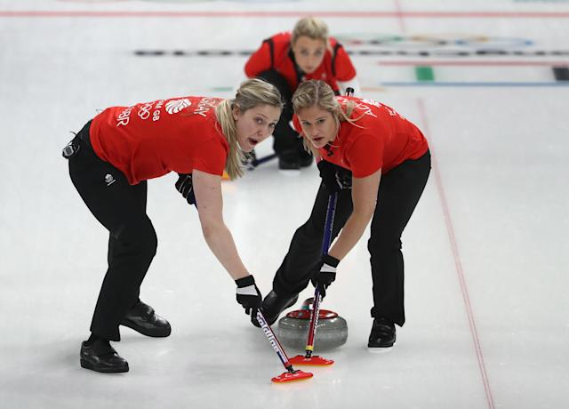 <p>Lauren Gray, Vicki Adams and Anna Sloan of Great Britain compete during the Curling Women's Round Robin Session 2 held at Gangneung Curling Centre on February 15, 2018 in Gangneung, South Korea. </p>