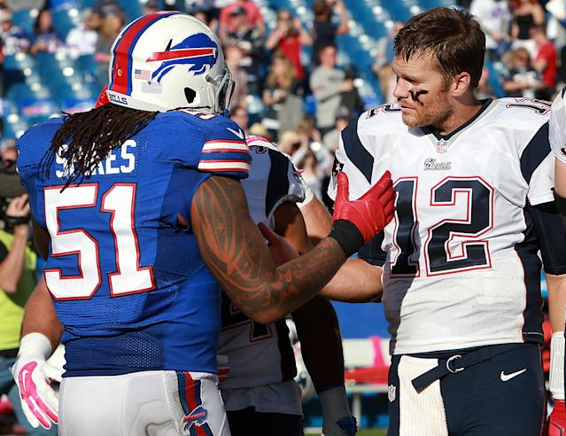 When former Patriots linebacker Brandon Spikes was down after missing the Pro Bowl in 2012, Tom Brady had some solid advice to cheer him up. (Jim Davis/The Boston Globe via Getty Images)