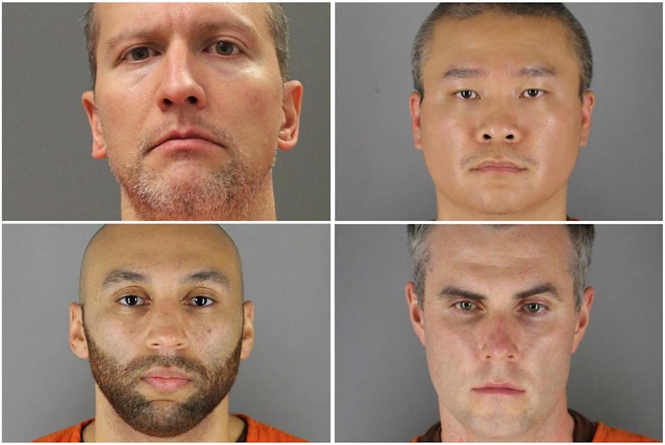 Former Minneapolis police officers (clockwise from top left) Derek Chauvin, Tou Thao, Thomas Lane and J. Alexander Kueng poses in a combination of booking photographs from the Minnesota Department of Corrections and Hennepin County Jail in Minneapolis, Minnesota, U.S.  Minnesota Department of Corrections and Hennepin County Sheriff's Office/Handout via REUTERS. THIS IMAGE HAS BEEN SUPPLIED BY A THIRD PARTY. THIS IMAGE WAS PROCESSED BY REUTERS TO ENHANCE QUALITY, AN UNPROCESSED VERSION HAS BEEN PROVIDED SEPARATELY.